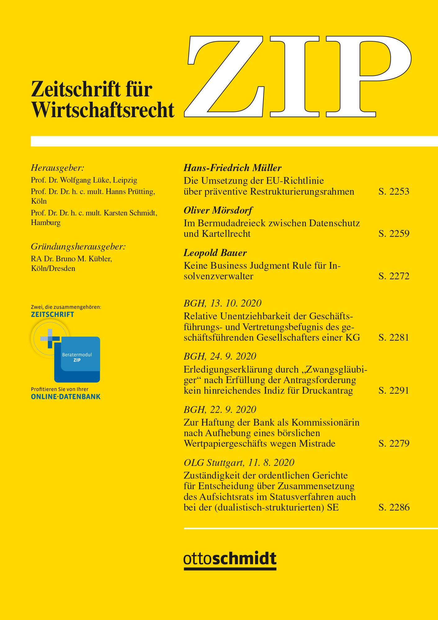 ZIP - Zeitschrift für Wirtschaftsrecht
